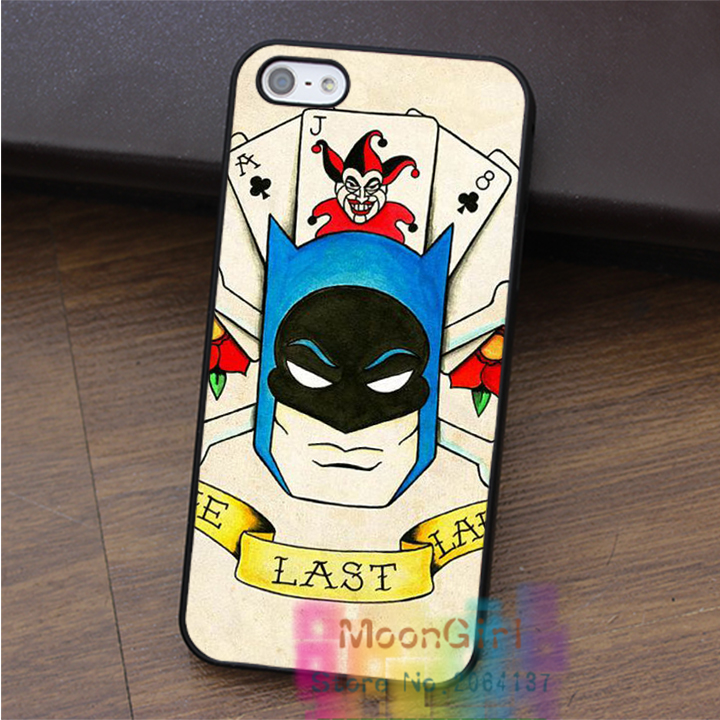 batman old school tattoo fashion cell phone case for iphone 4 4s 5 5s 5c SE 6 6s & 6 plus & 6s plus #EF050(China (Mainland))