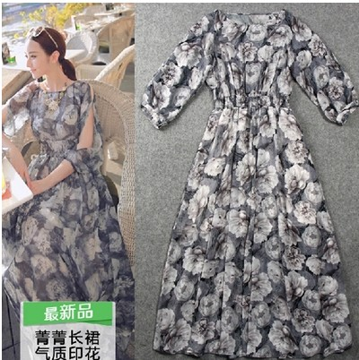 spring and autumn period and the han edition printed chiffon dress pop wave sleeve 7 minutes of sleeve in Bohemia(China (Mainland))