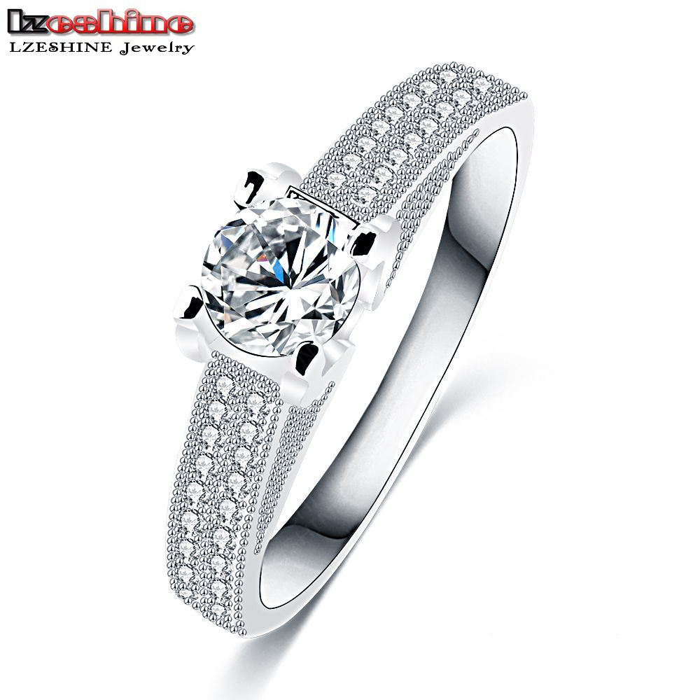 LZESHINE Delicate Bride Rings Platinum Plated Micro Inlay Full Cubic Zirconia Charm Knuckle Rings Wedding Jewelry CRI0244-B(China (Mainland))