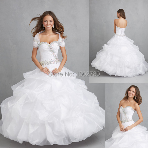 Debutante Dress 15 Years Removable Sleeve Ruffles White ...