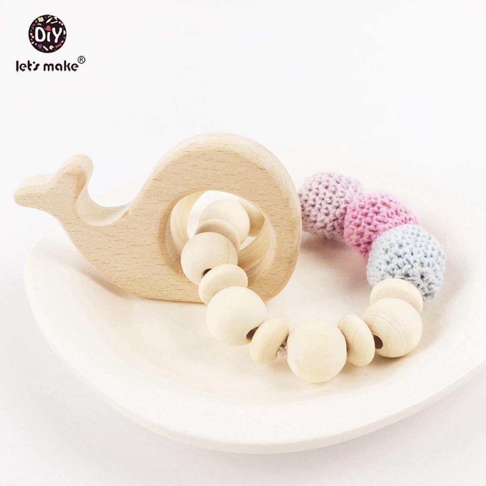 Baby Teether Safe Wood Teething Cotton Crocheted Beads Teething Toy Baby Gift Nursing Fish Baby Teether Bracelet(China (Mainland))