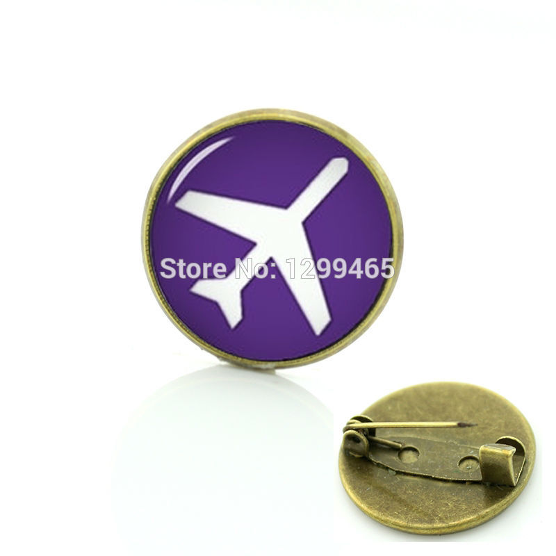 Vintage aircraft silhouette brooches plane keepsake pins art picture creative badge men and women hipster accessories C 1324(China (Mainland))