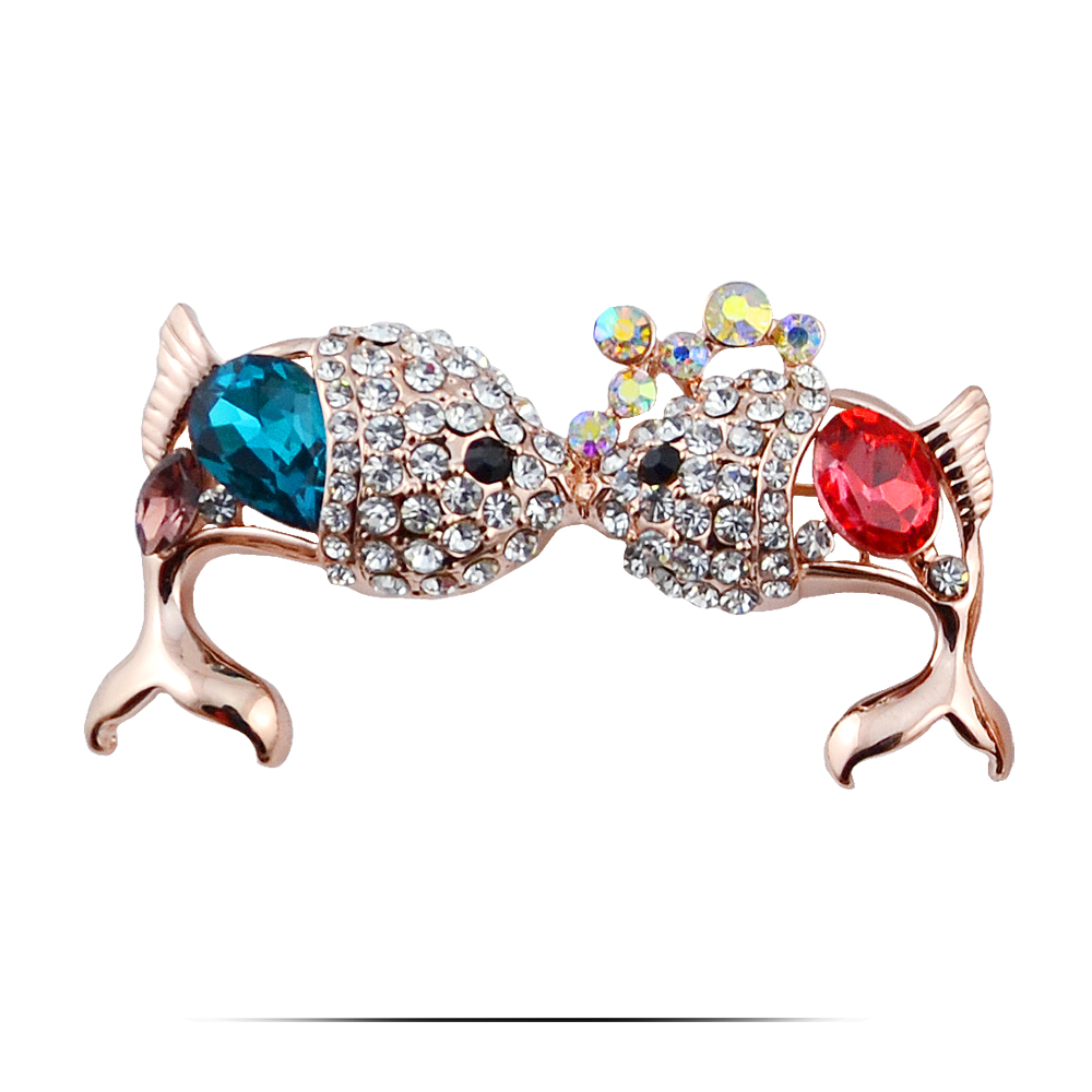 2015 New /Vintage Fishes Silver Gold Plated Women Jewelry Crystal Brooch Pins or Scarf Buckle - N404(China (Mainland))