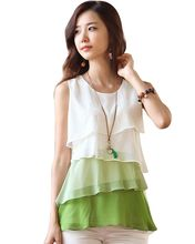 NEW 2016 Multi-Colors Blouse Shirts for Spring Summer Style Flounce Tiered Tops Round Neck Sleeveless Shirt #10(China (Mainland))