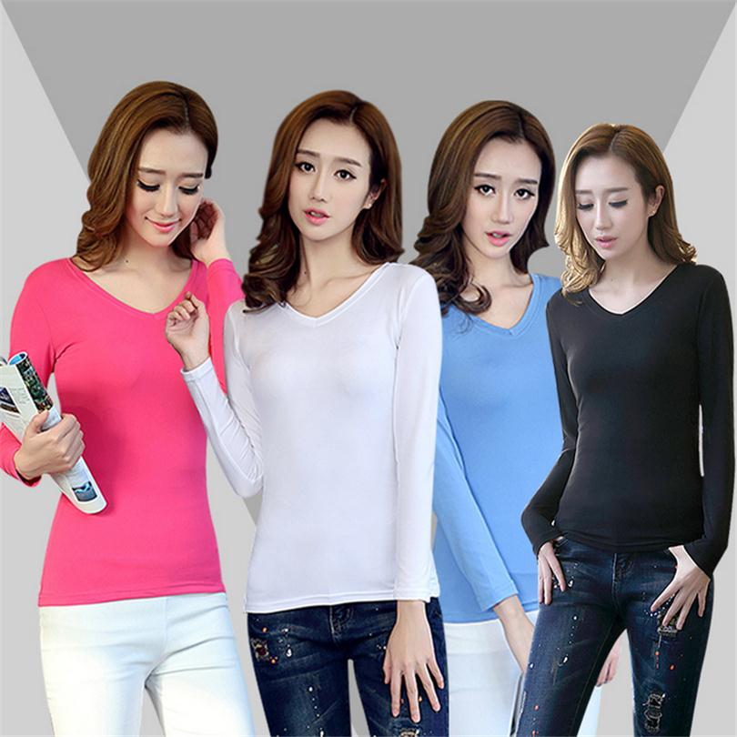 Spring Summer Long Sleeve Blouses V-Neck Shirts Women Plus Size Thin Maid Knitted Body Pure Color Tops Blusas Femininas S088(China (Mainland))