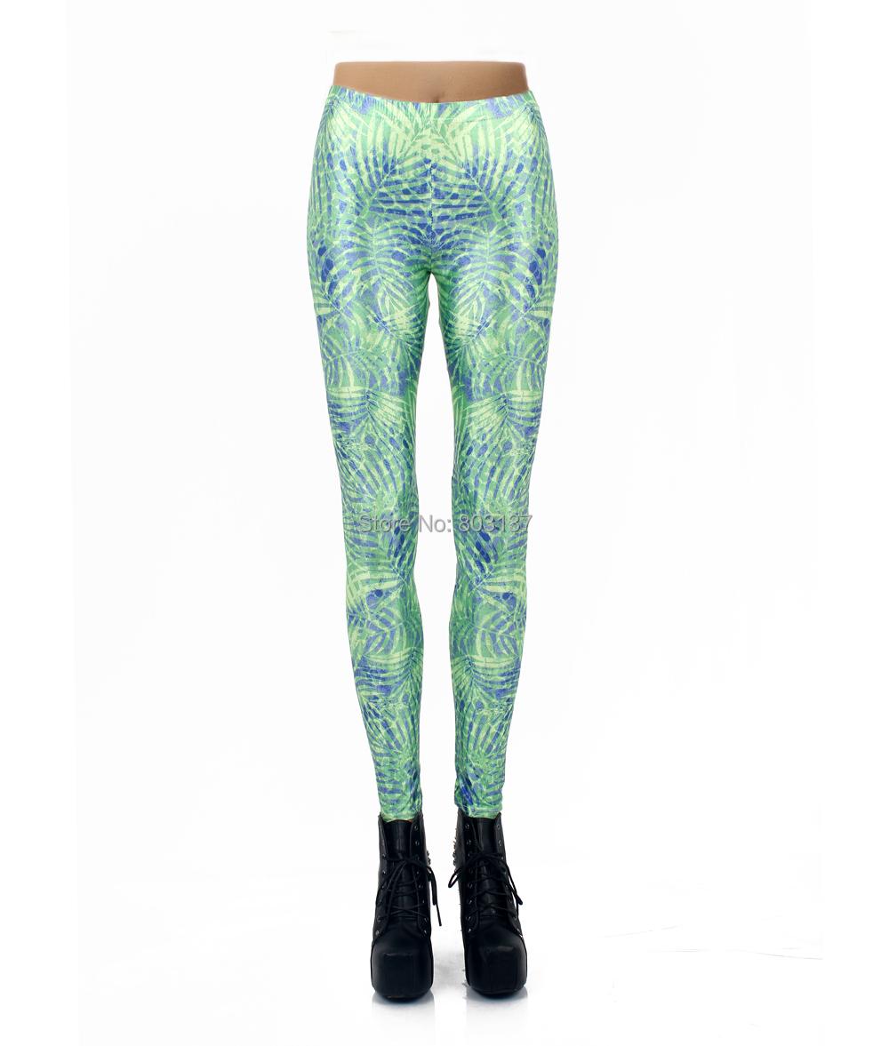 Drop Shipping New 2014 Women Leggings Clothing Green Maze Floral Leaf Leggins Digital Print ...