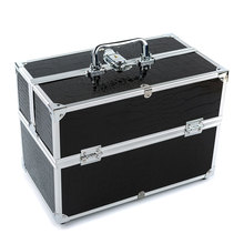 Black 3-layer Lockable Cosmetic Organizer Box Professional Makeup Case for Make Up Tools Containing Storage Box Larger Capacity(China (Mainland))