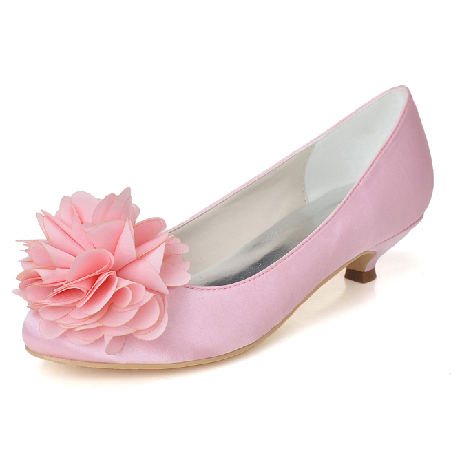Sweet flower decorated med low heel satin dress shoes bridal wedding party banquet evening pumps pink white prom dancing slip on
