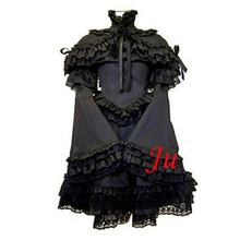 Free Shipping Gothic Lolita Punk Fashion Dress Black Cotton Dress And Cape Outfit Cosplay Costume Tailor-made