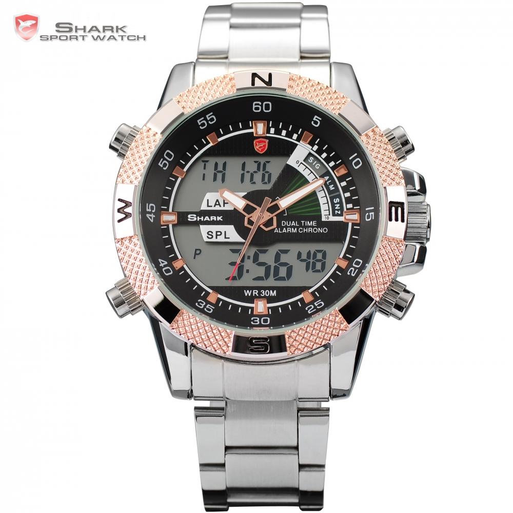 shark sport dual time lcd analog stopwatch steel