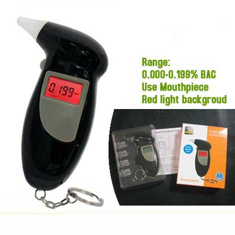 Digital Keychain Type Alcohol Tester Breathalyzer with disposable mouthpiece Dropshipping(China (Mainland))