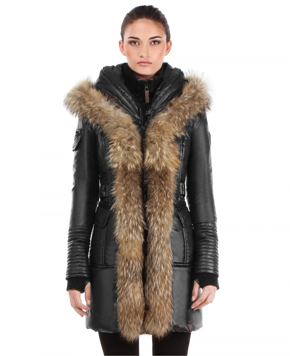 2014 new women's medium-long genuine full leather rabbit hair fur coat jacket outerwear with real fox fur collar overcoat(China (Mainland))
