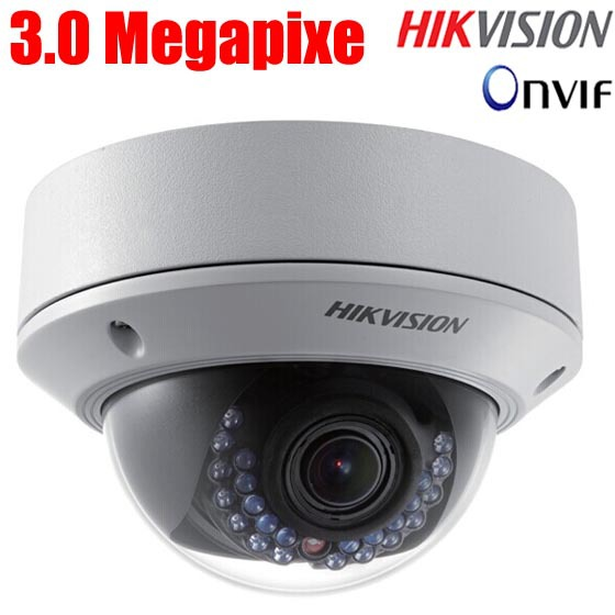HIKVISION DS-2CD2732F-I (S) 2.8-12mm varifocal lense 3MP IR dome security cctv ip camera audio alarm support POE(China (Mainland))