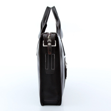 Free shipping 2014 New brand black leather briefcase business shoulder bags shopkeeper recommended style men s