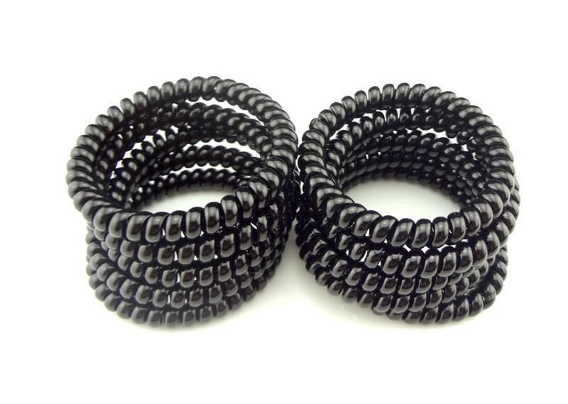 5Cm 5pcs/lot 2015 FashionTelephone Wire Line Cord Invisi Bobble Traceless Hair Holder Gum Black Women Girl Hair Scrunchy(China (Mainland))