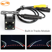 HD CCD Night Vision Car Trajectory Reversing Rearview Backup Camera with Auto-changeable Parking Lines + Built-in Sensor Module(China (Mainland))