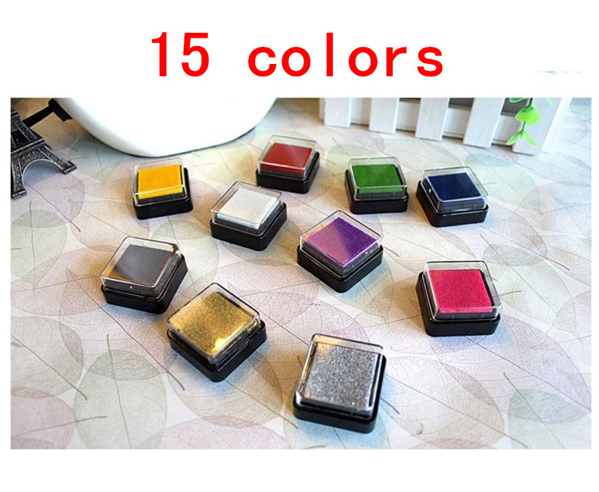 15 pcs/lot DIY Cute Kawaii Plastic Ink Pad Stamp Inkpad for Decoration Photo Album Scrapbooking Stationery Free shipping 217(China (Mainland))
