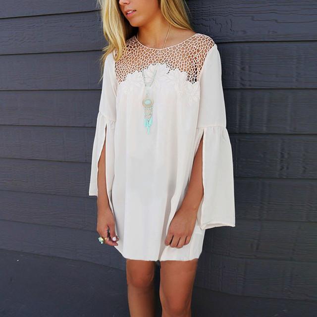 Новое поступление 2016 женщины платье из шифона Vestidos весна лето кружева выдалбливают платья о-образным шеи вспышка рукав свободного покроя белый широкий платья