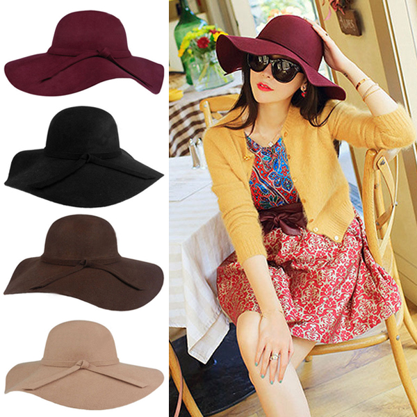 Free Shipping 2015 Hot New Women's Lady with Wide Brim Wool Felt Bowler Fedora Hat Floppy Cloche Sun Beach Bowknot Cap(China (Mainland))