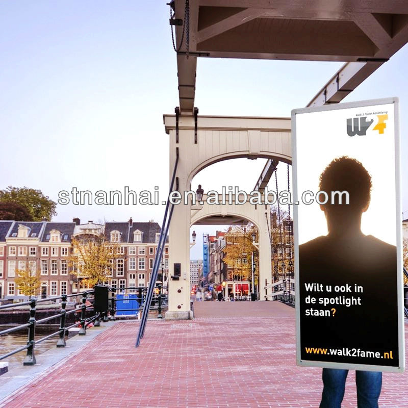 Buy 1 Send 2 pcs !!! J1A-118 2015 Outdoor mobile billboard aluminium frame LED walking display with lithium battery(China (Mainland))