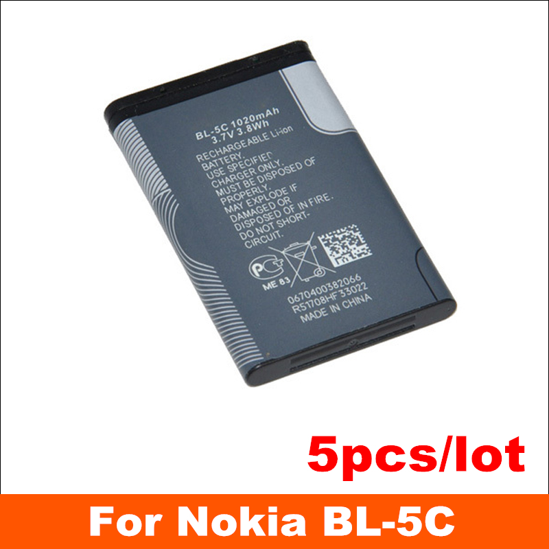 5pcs/lot High Capacity 1050mah Professional Manufacturer low price mobile phone battery for nokia bl-5c Sweden Free Shipping(China (Mainland))