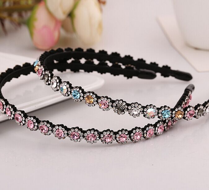 2015 New Hot Sale Korean Women Full Rhinestone Crystal Hair bands OL Style Head band For Girl Hair Accessory Glitter Hair Hoop(China (Mainland))