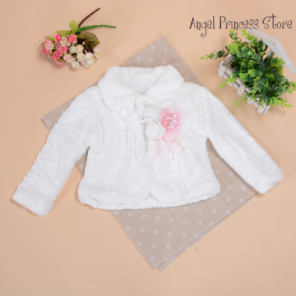 T05 New Arrival 2014 Girls Jackets and Coats Winter Faux Fur Long Sleeves Kids Fashion Flower Girl Bolero in Ivory Pink  2-8Year