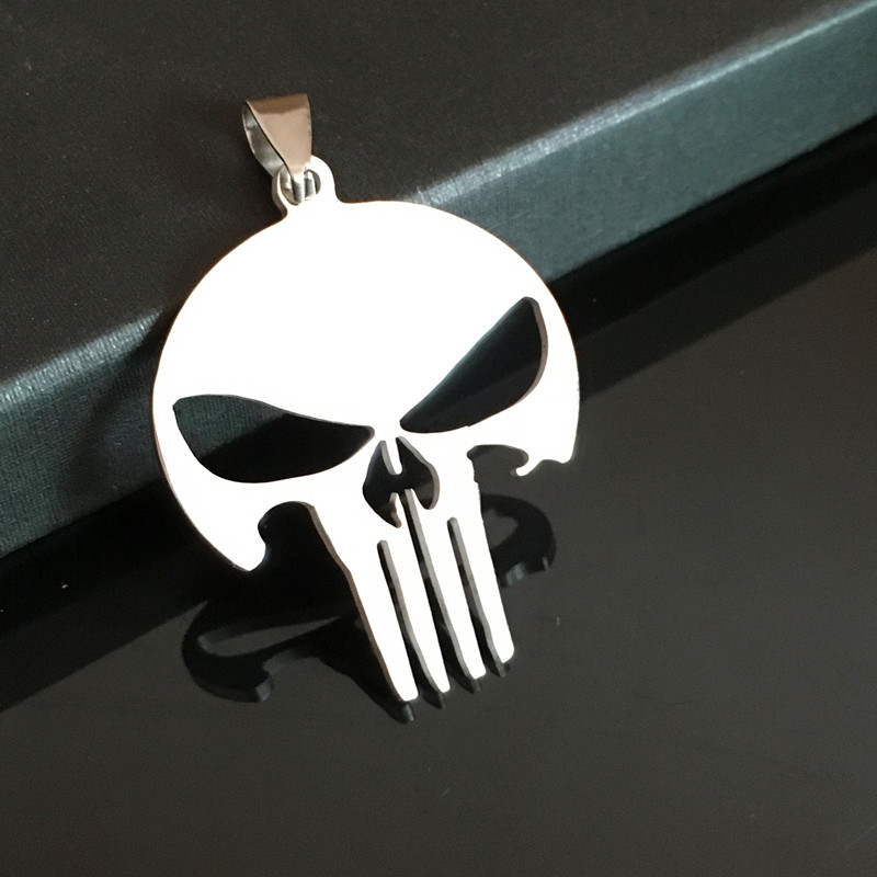 Wholesale 50Pcs A Lot Movie The Punisher Stainless Steel Pendant Chain Fashion Pendant Jewelry For Women&Men Size3.7*3.1cm(China (Mainland))