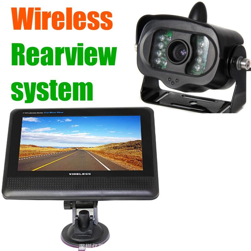 "7"" Car truck Trailer Van Bus Video parking reversing back Rear view Wireless Camera Monitor Kit,12/24v safety Monitoring system(China (Mainland))"