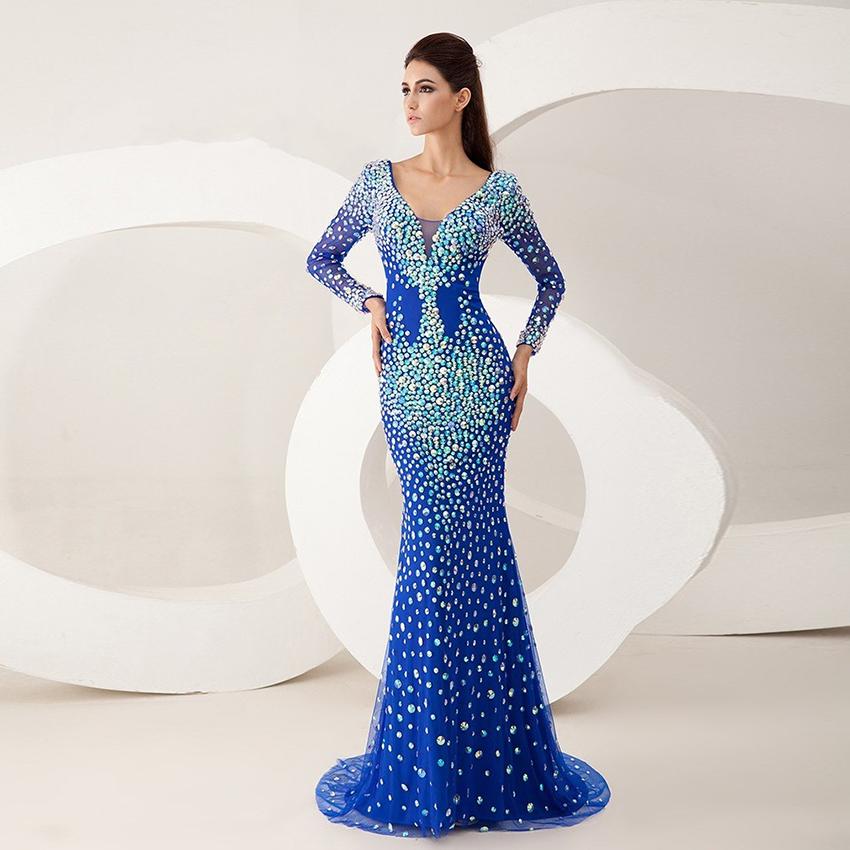 2016 Huge Discounts Royal Blue Mermaid Vestidos De Fiesta Shiny Stone Evening Dress Long Sleeves Backless Prom Party Gown CJ123(China (Mainland))