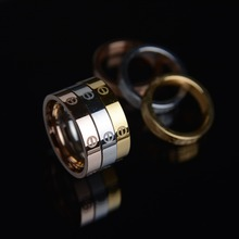 Popular Brand 6mm Width Carter Love Rings For Women And Men Gift 18k Gold Rose Gold Titanium Stainless Steel Letter Couple Ring(China (Mainland))