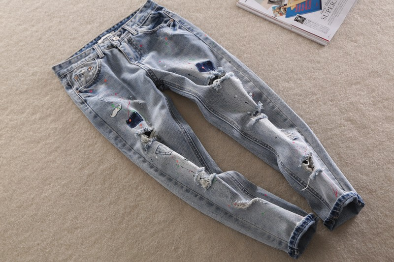Skinny Jeans Women Fashion Women High Waist paint Jeans Femme Stretch Women's Denim Pants Women ripped Jeans Trousers Large Size