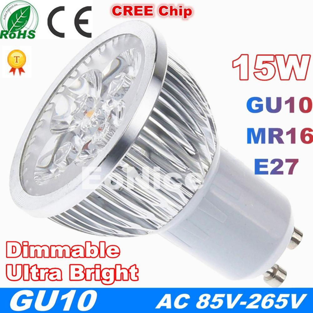 Super Bright Dimmable GU10 LED Bulb Spot Light Lamp E27 MR16 15W 6W 9W 12W Recessed Lighting Warm Cold White 110V 220V 45(China (Mainland))