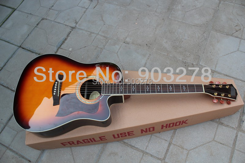 sunburst acoustic guitar with Solid Spruce body DA018(China (Mainland))