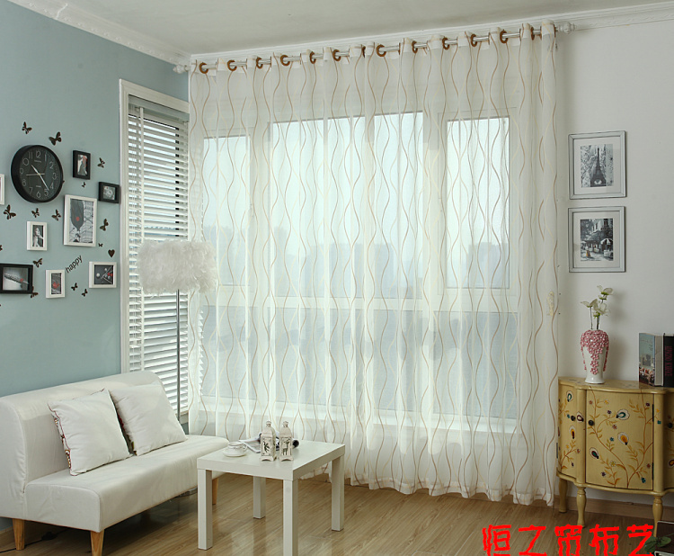 (W)3M*(H)2.7M /lot High quality stripe window screening sheer white linen curtain custom made curtain finished products(China (Mainland))