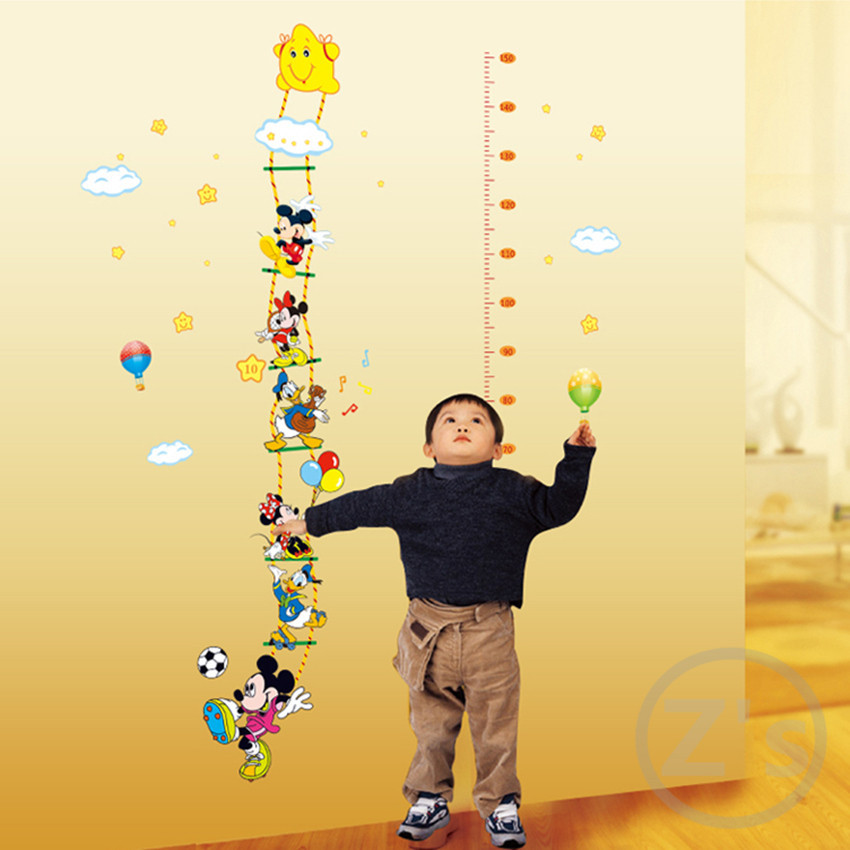 Large size Mickey Mouse and Donald Duck height sticker wall for kids room growth chart stadiometer story height ruler AY7113(China (Mainland))