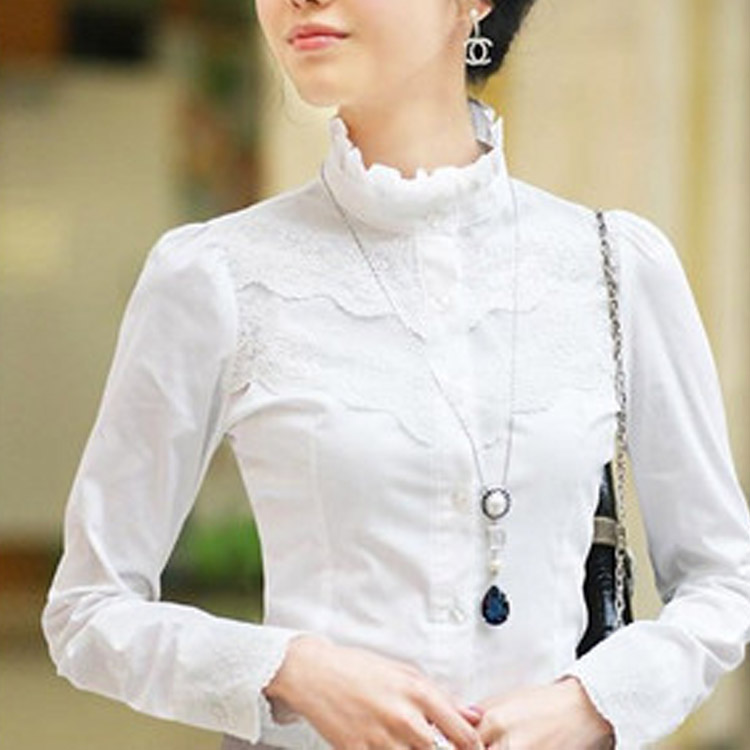 White NEW Victorian Womens Sheer Ladies Office Chiffon Lace Blouse Shirt Top - Miss Cao affordable fashion shop store