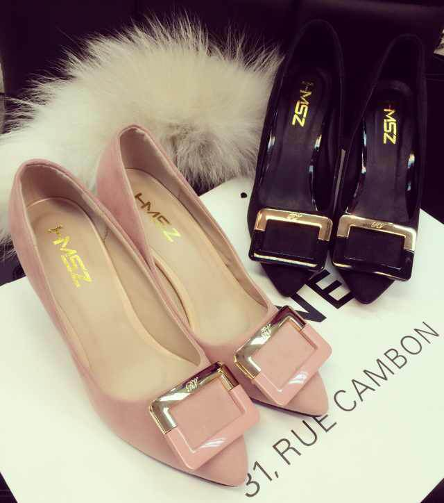 2015 new spring buckle in Korean patent leather shoes with pointed shoes with flat shoes Asakuchi