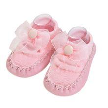Модные детские носки с резиновой подошвой, носки с бантиком для новорожденных, осенне-зимние детские носки-тапочки, нескользящие носки с мя...(China)