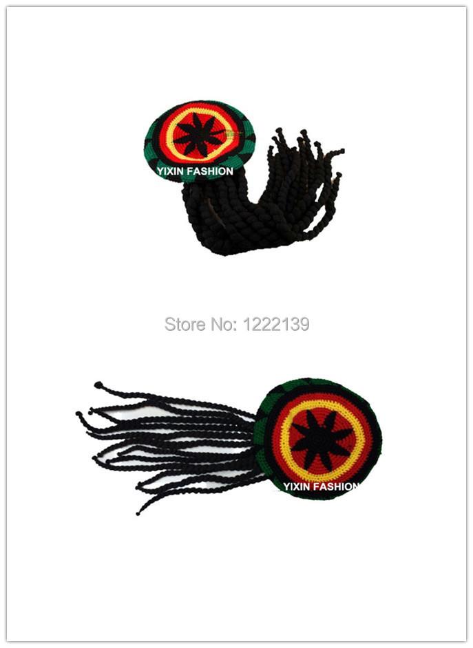 محبوك الكروشيه الراستا الباروكات اليدوية سلسلة الراستا الجامايكي معتنق الراستافاراي الرقص الهيب هوب كأب قبعة ضفائر مع يتوهم الباروكات الضفيرة(China (Mainland))