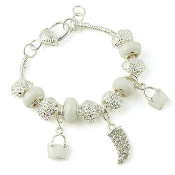 Bamoer Fashion European Style 925 Silver Crystal Charm Bracelets & Bangles With White Murano Glass Beads Handmade Jewelry PA1336
