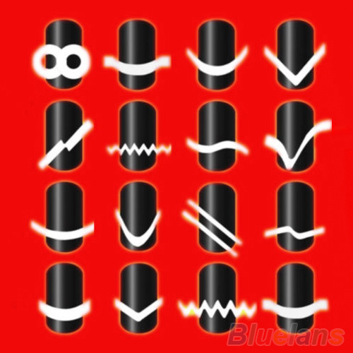 New 2Pcs Chic DIY 18 Style French Manicure Nail Art Tips Tape Sticker Guide Stencil 2MQX(China (Mainland))
