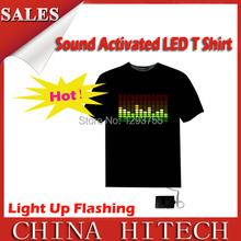Продажи звуковой активации из светодиодов футболка света вверх мигающий эквалайзер EL из светодиодов футболки мужчин для рок дискотека ну вечеринку DJ ECO-002