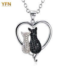 YFN Cat Necklaces 925 Sterling Silver Jewelry Black White Crystal Cat Pendant Necklaces Women Silver Necklace Valentines GNX8858(China (Mainland))