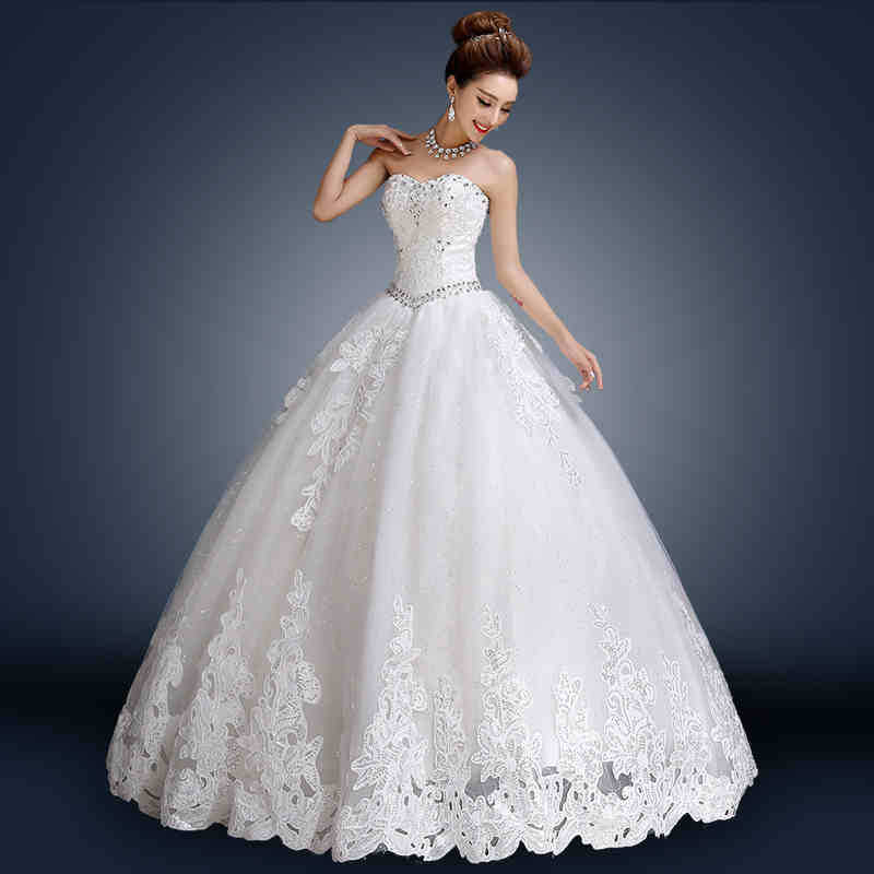 2015 new strapless sequins applique backless formal bridal for Strapless and backless wedding dress