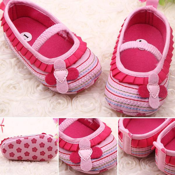 Retail Wholesales Sweet Baby Girl Crib Shoes Flower Ruffled Soft Sole Comfort Soft Bottom Toddler Shoe