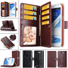 Luxury Multi-function Retro Wallet For Samsung Galaxy Note 2 Case N7100 Cover PU Leather Flip Cover Housing With Card Slots(China (Mainland))