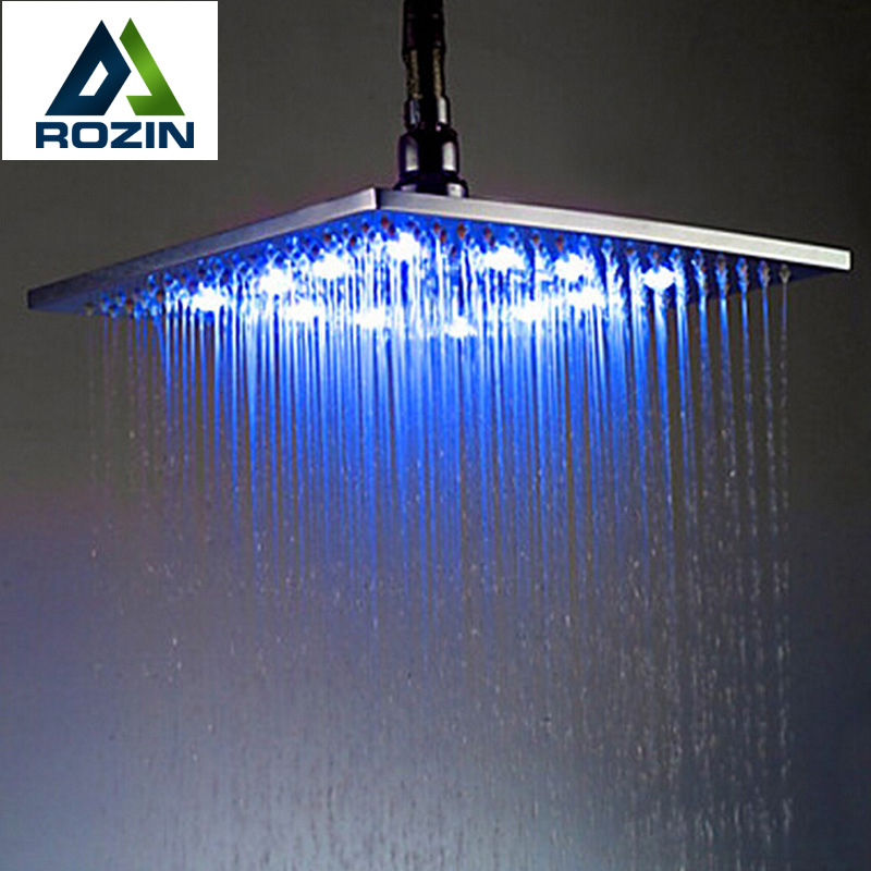 "Polished Chrome ABS LED Light Rainfall Shower Head Square 8"" Bathroom Showerhead(China (Mainland))"