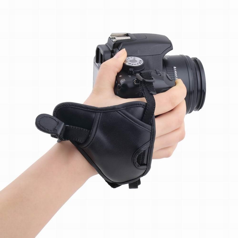 DSLR Camera PU Leather Grip Rapid Wrist Strap Soft Hand Grip Camera Bag Universal for Canon Nikon Sony Olympus Black Wholesale(China (Mainland))