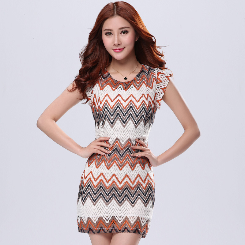 Contrast Color Wave Pattern Design Short Sleeve O-neck Fashion Women Dress Summer Size S-2XL Crochet Elegant Lady Casual Dresses(China (Mainland))